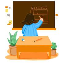 手绘卡通上课女老师讲课插画