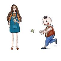 手绘可爱女孩和儿童人物插画元素