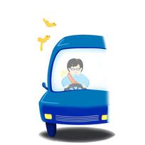 手绘蓝色车子人物插画小鸟交通安全插画