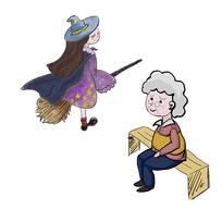 手绘老人老奶奶巫婆万圣节重阳节元素