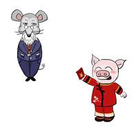 手绘老鼠和猪动物头像人物插画元素