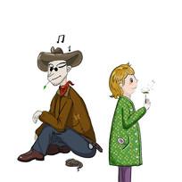 手绘牛仔和吹蒲公英的人物插画元素