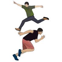 手绘跳跃奔跑的人物青春梦想元素