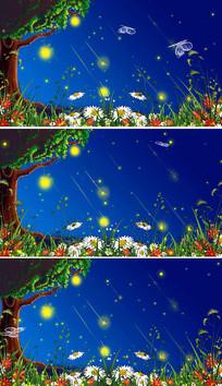 唯美夜色大树粒子视频素材