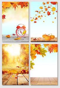 唯美意境金色秋天秋分节气海报背景