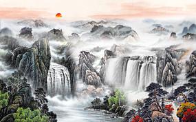 旭日东升国画中式背景墙