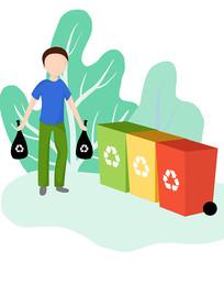 原创垃圾分类素材男孩扔垃圾插画垃圾桶元素