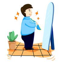 原创手绘成功人士照镜子6S管理素养插画
