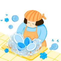 原创手绘家庭主妇清洁清洗碗筷插画