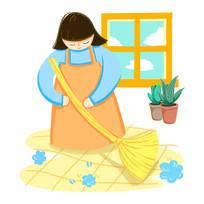 原创手绘家庭主妇清扫卫生插画