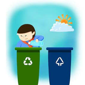 原创手绘垃圾分类垃圾回收垃圾桶插画