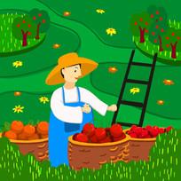 原创手绘绿色果农采摘新鲜水果插画