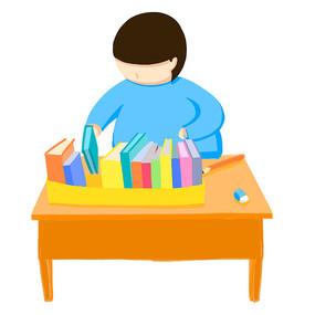 原创手绘小男孩整理文件整理桌面插画