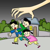 原创元素手绘迫害儿童漫画