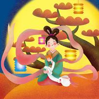 原创元素中秋嫦娥树下吃月饼