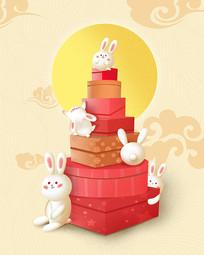 原创元素中秋节之玉兔送礼
