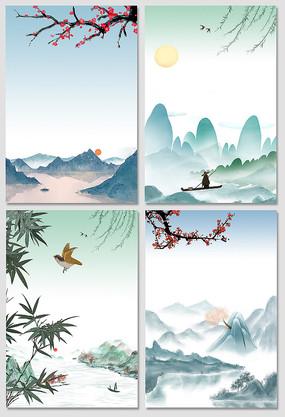 中国风山水墨画海报背景元素