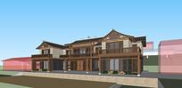 中式别墅两层农村自建房SU精细模型