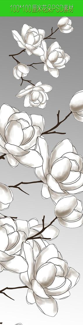 高清手绘花朵PSD素材
