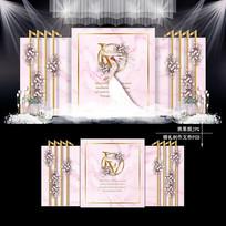 浅粉色大理石纹婚礼设计婚庆效果图背景