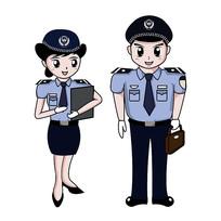 手绘警察签文件公文包图片