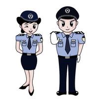原创手绘警察眨眼禁止图片
