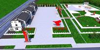 3D景观模型建模效果图党建主题公园max