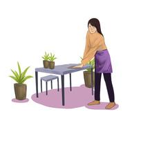 6s管理企业文化妇女清洁家务家政插画