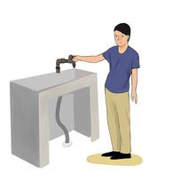 6s管理企业文化关闭水龙头节约用水插画