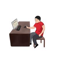 6s管理企业文化使用电脑检查质量安全插画