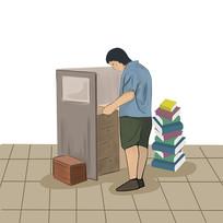 6s管理企业文化整理柜子的人物插画