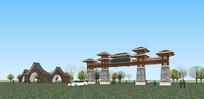 两个风格景区园区大门SU模型