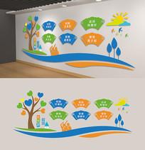 校园六个好文化墙卡通学校背景墙