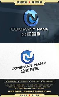 N字母蓝色大气简约LOGO设计 CDR