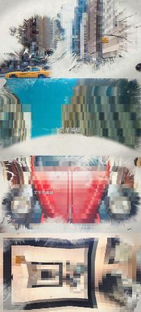 大气水墨转场照片相册图文视差动画AE模板