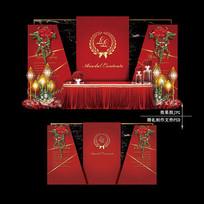 红黑色大理石纹婚礼婚庆舞台背景板