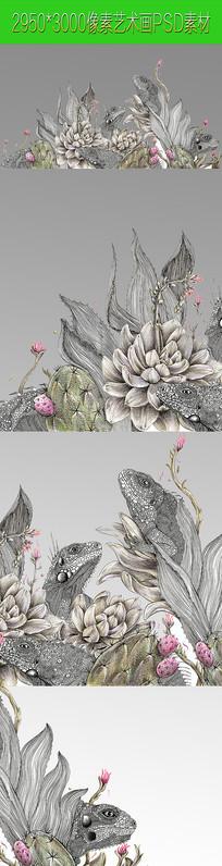青蛙植物抽像画PSD文件