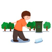 手繪撿垃圾到垃圾桶的男孩節約能源插畫元素