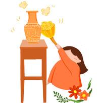 手繪家庭婦女清掃家務家政公司插畫元素