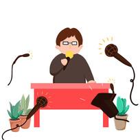 手绘演讲开会整顿企业人物6S管理插画