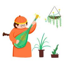 手繪原創談琵琶音樂藝術招生元素插畫