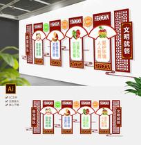 中式学校食堂文化墙员工餐厅文化墙