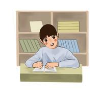 6s管理企业文化学习的小男孩插画