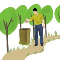 6s管理企业文化有素养的男孩扔垃圾插画
