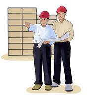 6s管理企业文化整顿指导的工人插画