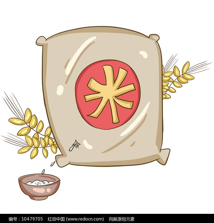 手绘大米创意珍惜粮食食堂文化插画元素图片