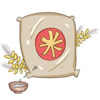 手绘大米创意珍惜粮食食堂文化插画元素