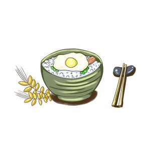 手绘米饭创意节俭养德食堂文化插画元素