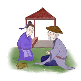 手绘中国风校园文化好问插画元素