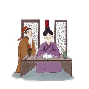 手绘中国风校园文化好学插画元素